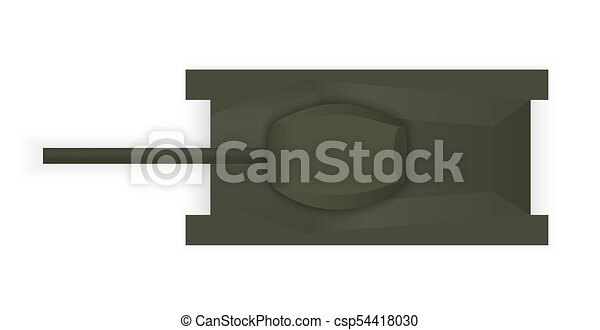 Silhouette of a military tank view from above. Vector Illustration - csp54418030