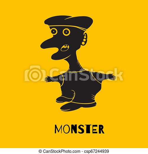 Silhouette of a monster on a yellow background - csp67244939