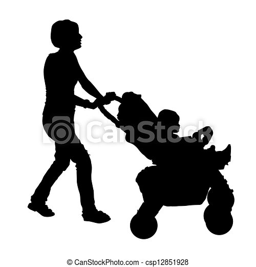 Silhouette of a mother with a stroller and a baby - csp12851928