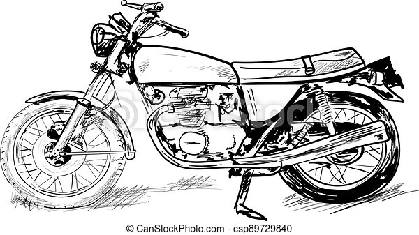 silhouette of a motorcycle on white - csp89729840