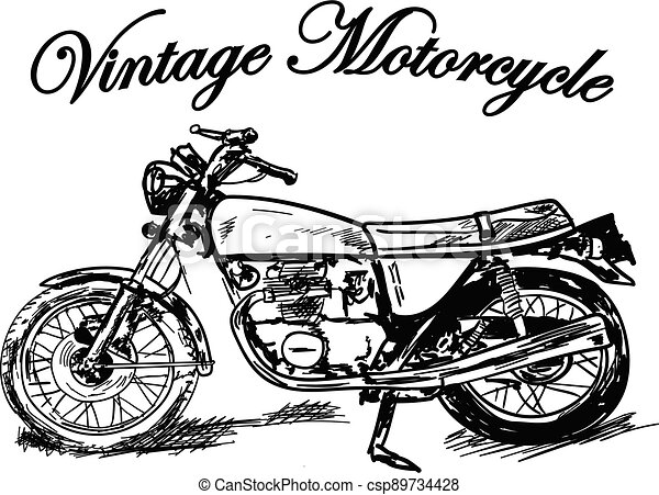 silhouette of a motorcycle on white - csp89734428