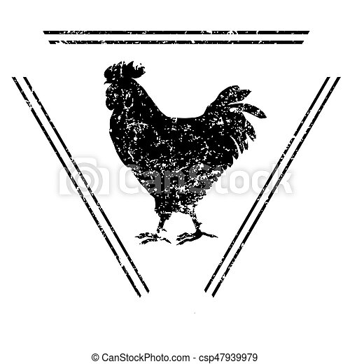 Silhouette Of A Rooster Stamp