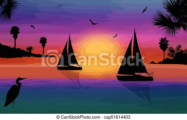 Silhouette of a sailingboats at the sea on beautiful sunset - csp51614403