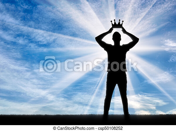 Silhouette of a selfish and narcissistic man reconciling his own crown - csp50108252