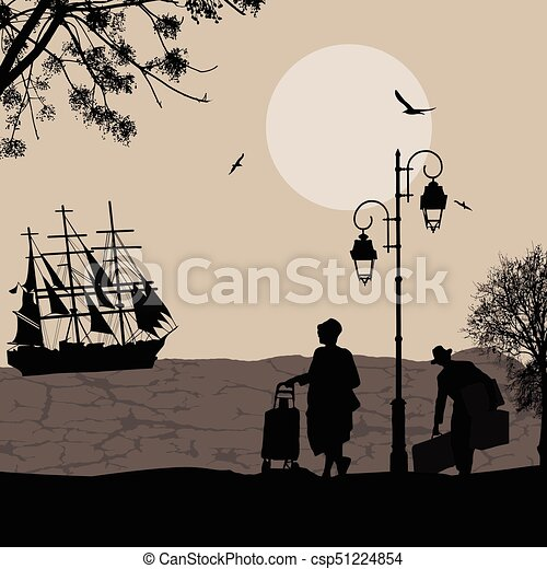 Silhouette of a ship at the sea and travelers people - csp51224854