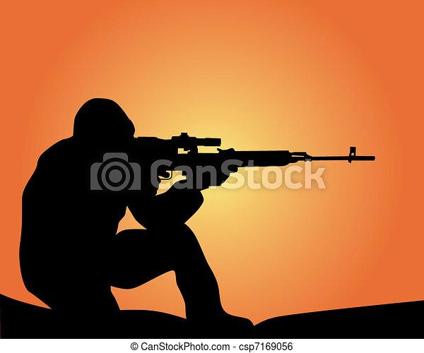 silhouette of a sniper - csp7169056