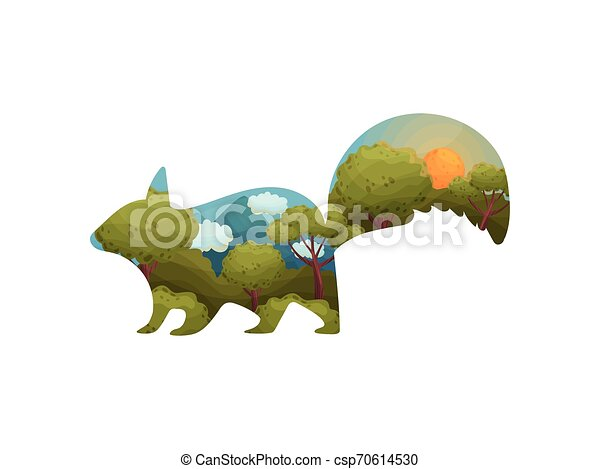 Silhouette of a squirrel with a landscape inside. Vector illustration on white background. - csp70614530