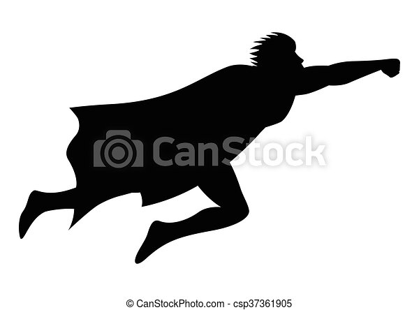 Silhouette of a superhero flying. Cartoon silhouette of a ...