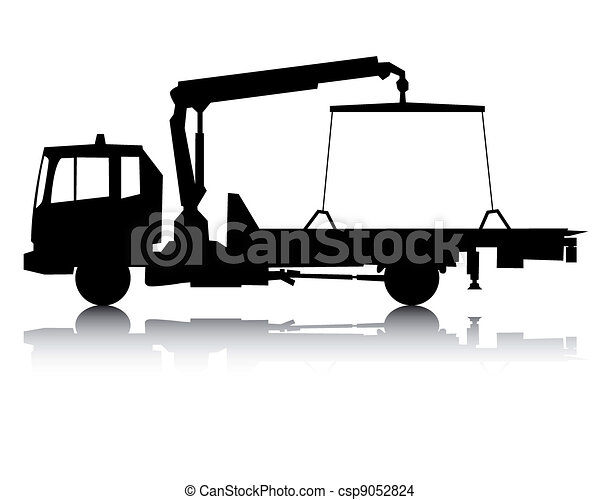 Black Silhouette Of A Tow Truck On A White Background Eps Vector