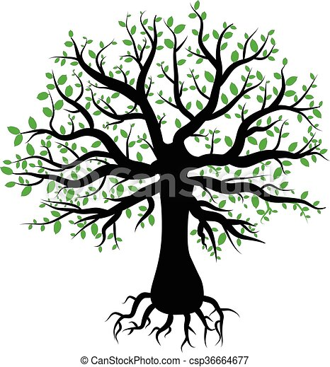 silhouette of a tree with green leaves - csp36664677