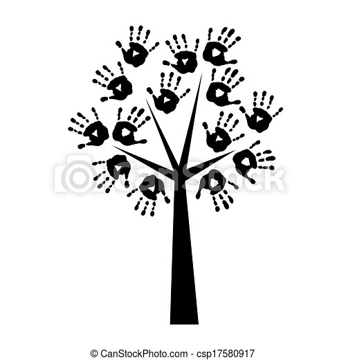 Silhouette of a tree with handprints - csp17580917