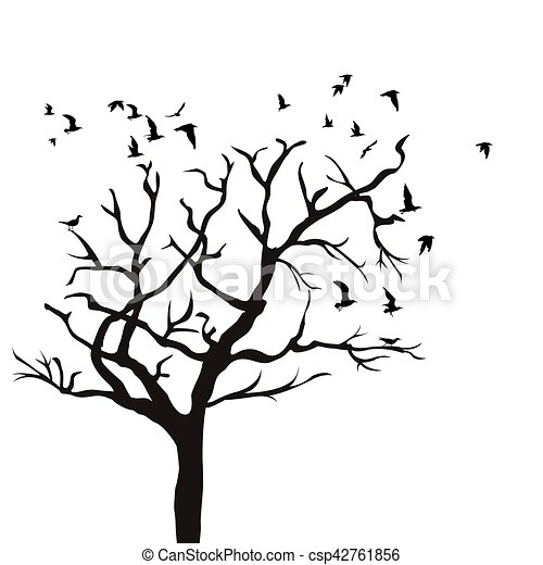 Silhouette of a tree without leaves and birds flying - csp42761856