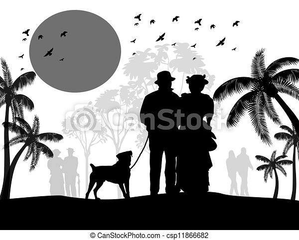 Silhouette of a vintage couple walking their dog - csp11866682