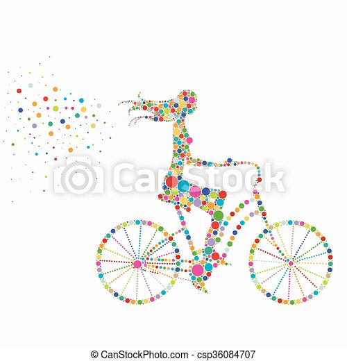 silhouette of a woman on a bicycle - csp36084707