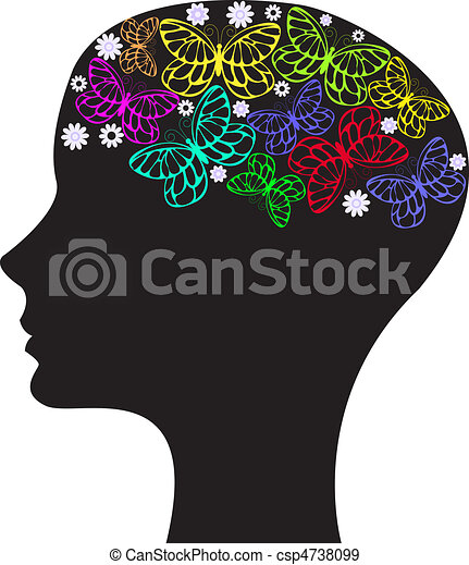 silhouette of a woman\'s head - csp4738099