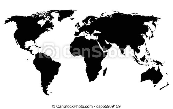 Silhouette Of A World Map Black Shapes On White Background