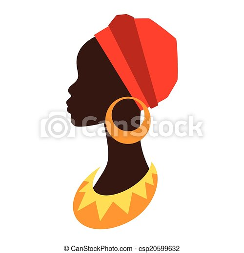 Silhouette of african girl in profile with earrings. - csp20599632