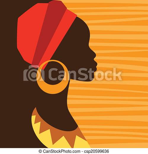 Silhouette of african girl in profile with earrings. - csp20599636