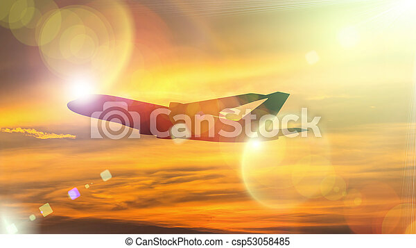 Silhouette of Airplane take off on the Colorful dramatic sky with cloud at sunset background. - csp53058485