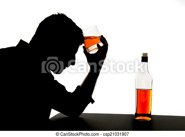 silhouette of alcoholic drunk man drinking whiskey bottle feeling depressed falling into addiction problem - csp21031907