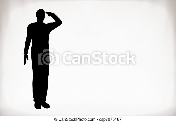 Silhouette of an army soldier - csp7075167