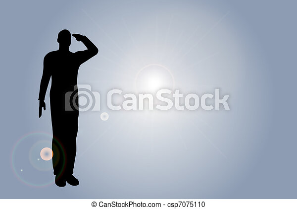 Silhouette of an army soldier on a platform saluting - csp7075110