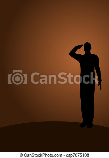 Silhouette of an army soldier on a platform saluting - csp7075108