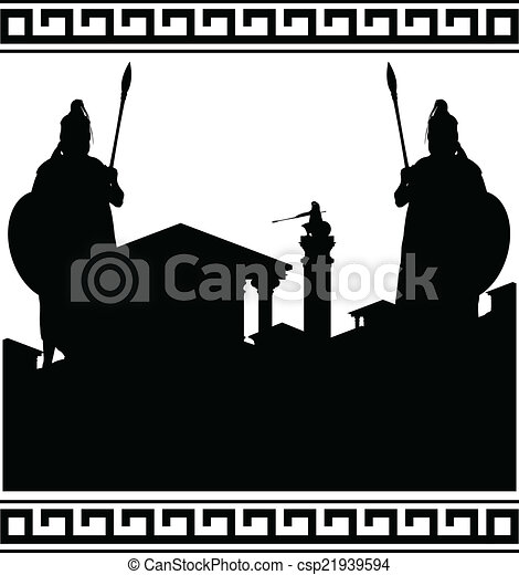 silhouette of ancient city - csp21939594