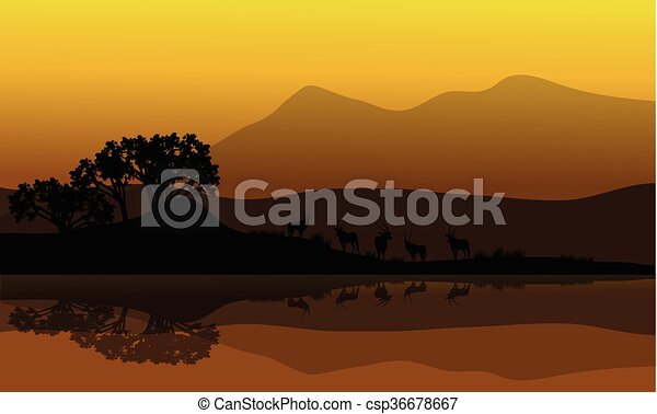 Silhouette of antelope in riverbank - csp36678667