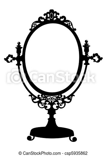 Silhouette Of Antique Makeup Mirror Silhouette Of Retro Oval Cosmetic Mirror Vector Illustration Isolated On White