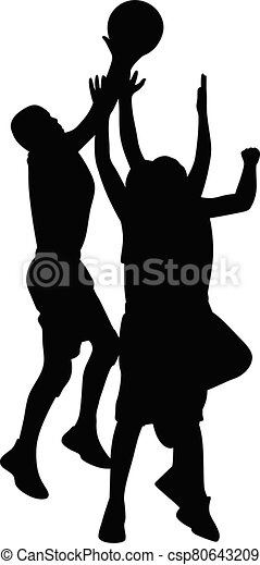 Silhouette of athletic basketball players jumping to score a shot - csp80643209