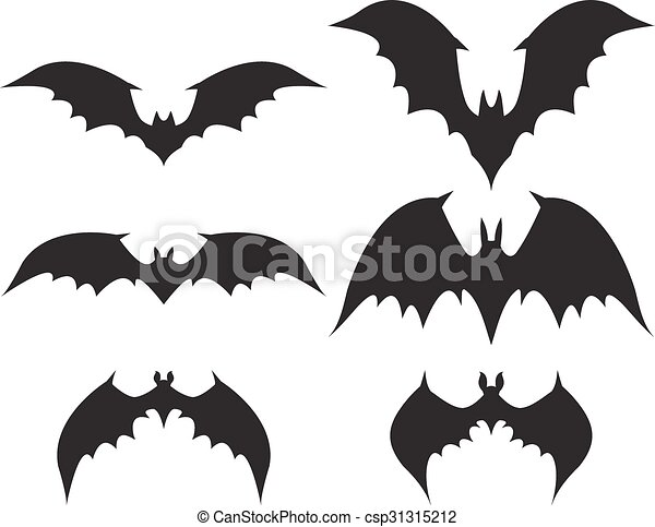 Silhouette of bat with big wings - csp31315212