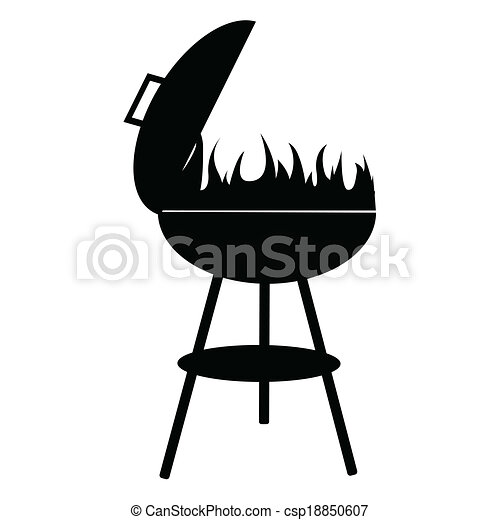 silhouette of BBQ isolated on white background, vector - csp18850607