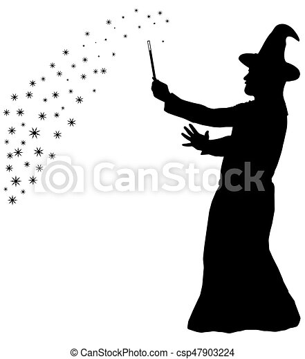 Silhouette of bearded wizard in cloak with pointed hat ...