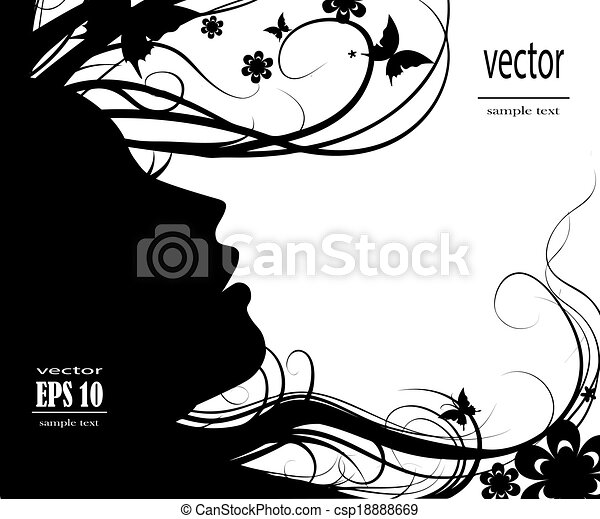Silhouette of beautiful girl - csp18888669