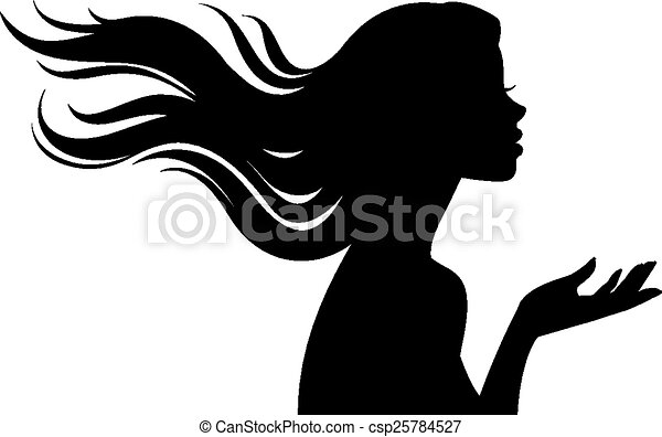 Silhouette of beautiful girl in pro - csp25784527