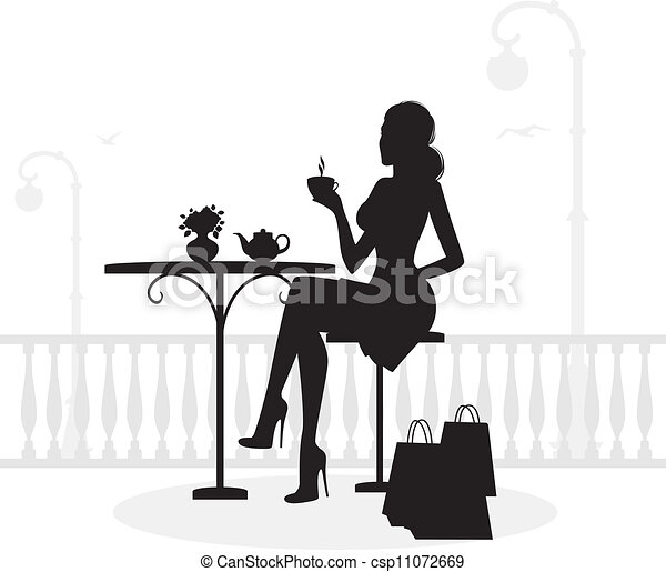 Silhouette of beautiful woman in ca - csp11072669