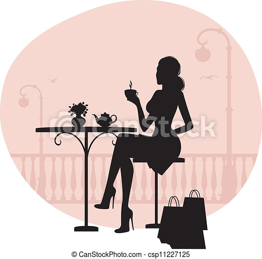Silhouette of beautiful woman in cafe  - csp11227125