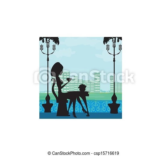 Silhouette of beautiful woman in cafe - csp15716619