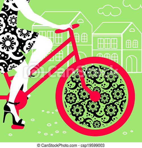Silhouette of beautiful woman on bicycle - csp19599003