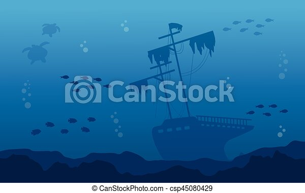silhouette of big ship on underwater landscape vector art