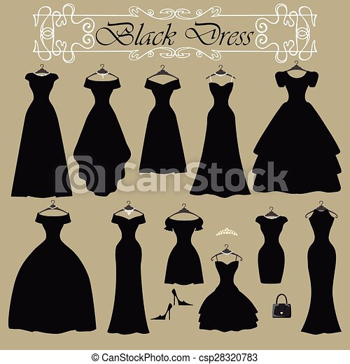 Silhouette of black party dress set.flat design. The composition of ...