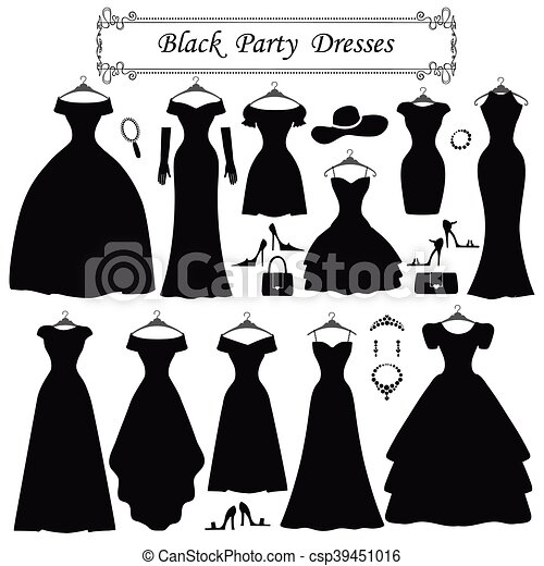 Silhouette Of Black Party Dresses Fashion Flat Fashion Dress Different Styles Of Black Party Dress Silhouette Set