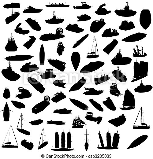 Silhouette of boats - csp3205033