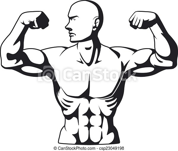 Silhouette Of Bodybuilder A Vector Image Of Bodybuilder Flexing His