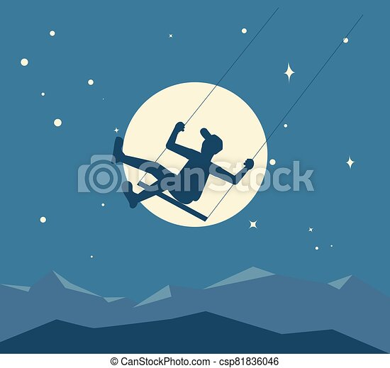 Silhouette of boy on a swing - csp81836046