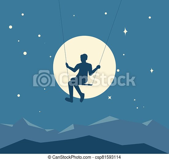 Silhouette of boy on a swing - csp81593114