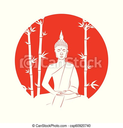 silhouette of buddha sitting in lotus pose on a red