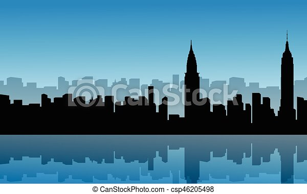 Silhouette of building city scenery with reflection - csp46205498