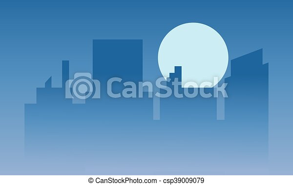 Silhouette of buildings at the night - csp39009079